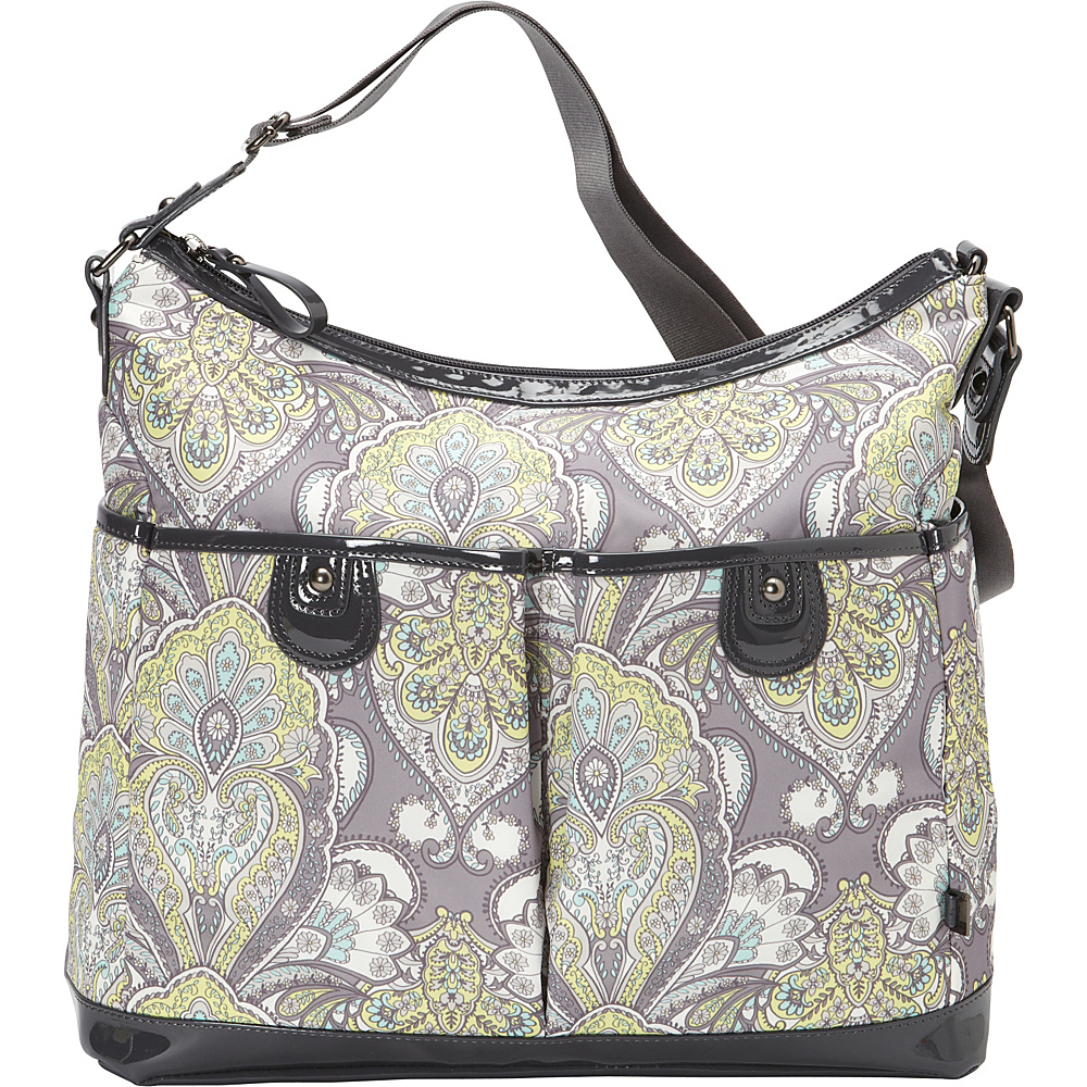 OiOi Two Pocket Hobo Diaper Bag Grey/Lemon - OiOi Diaper Bags