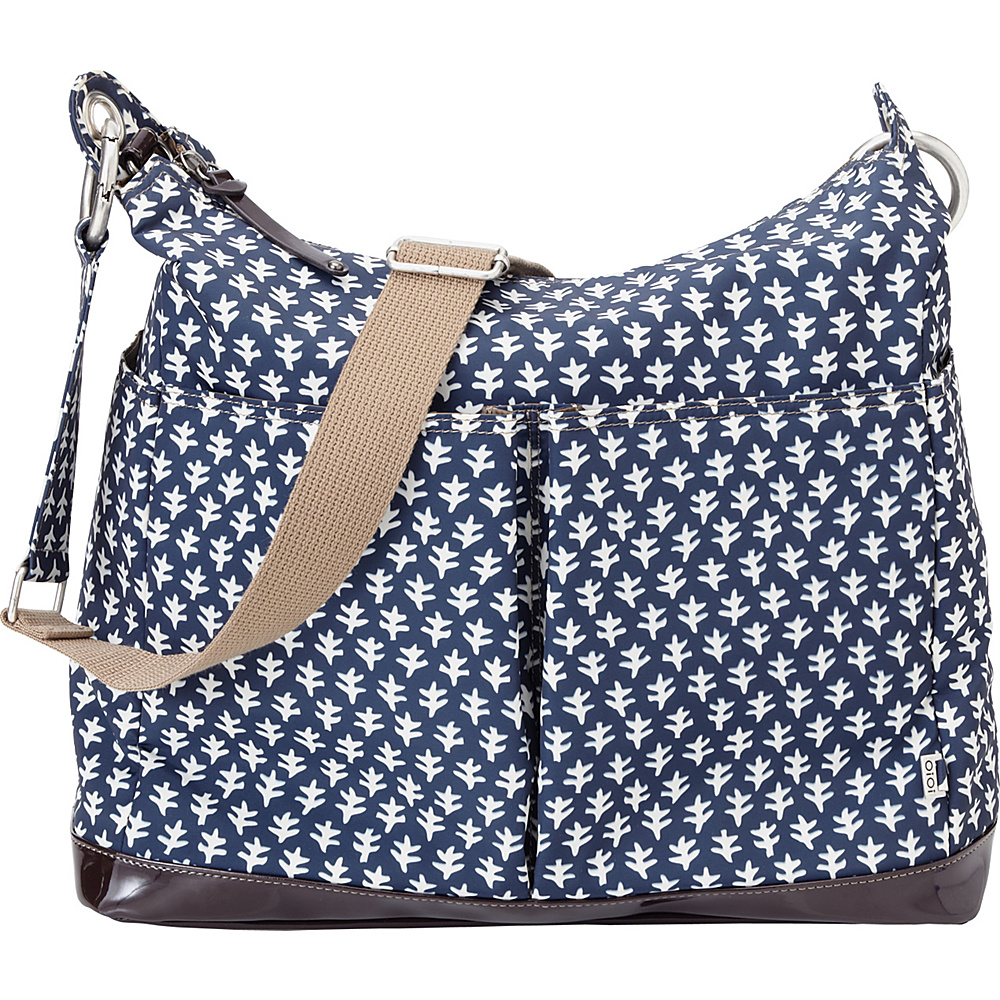 OiOi Two Pocket Hobo Diaper Bag Blue/Off White - OiOi Diaper Bags & Accessories