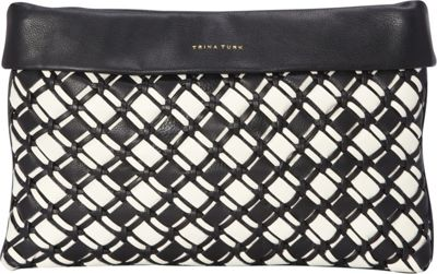 Trina Turk Cabana Woven Clutch Black - Trina Turk Designer Handbags