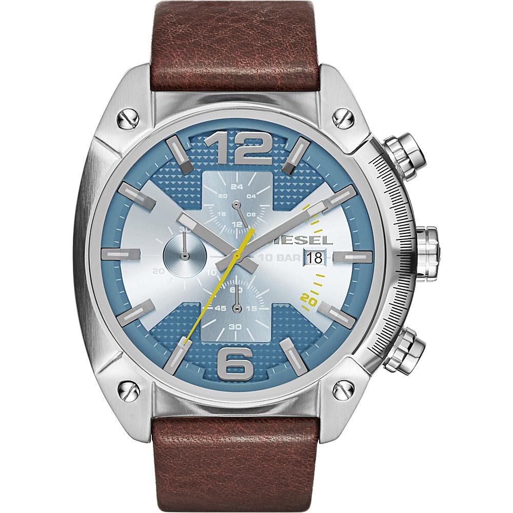 Diesel Watches Overflow Leather Watch Brown/Silver/Blue - Diesel Watches Watches