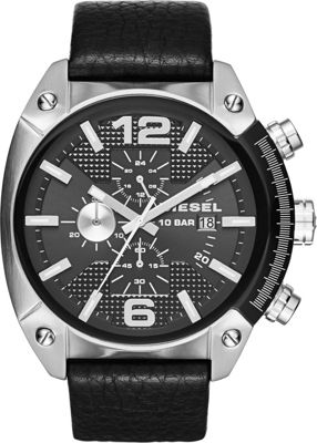 Diesel Watches Overflow Leather Watch Black/Silver - Diesel Watches Watches
