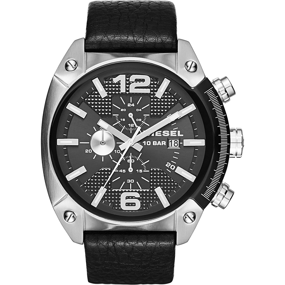 Diesel Watches Overflow Leather Watch Black Silver Diesel Watches Watches