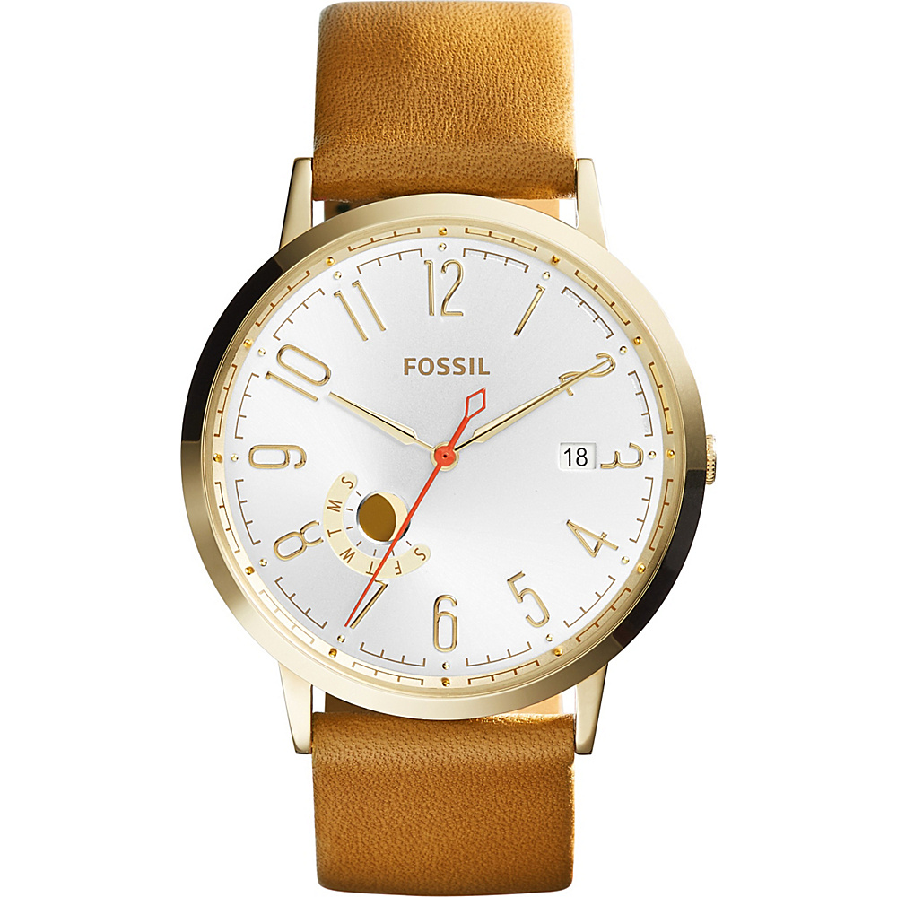 Fossil Vintage Muse Three-Hand Day/Date Leather Watch Brown - Fossil Watches