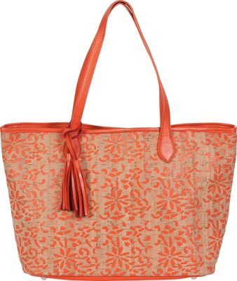 BUCO Large Cork Tote Orange - BUCO Straw Handbags