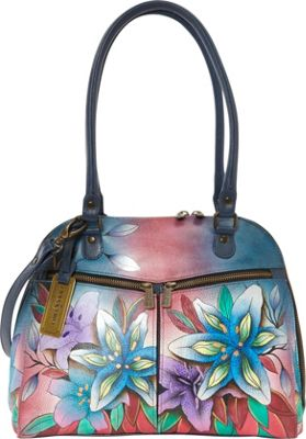 Anuschka Zip Around Organizer Satchel Luscious Lilies Denim - Anuschka Leather Handbags