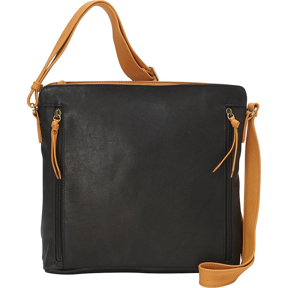 Derek Alexander Inset Top Zip Black/Tan - Derek Alexander Leather Handbags - Handbags, Leather Handbags