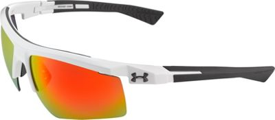 Under Armour Eyewear Core 2.0 Sunglasses Shiny White-Gray Temples/Gray Orange Multiflection - Under Armour Eyewear Sunglasses