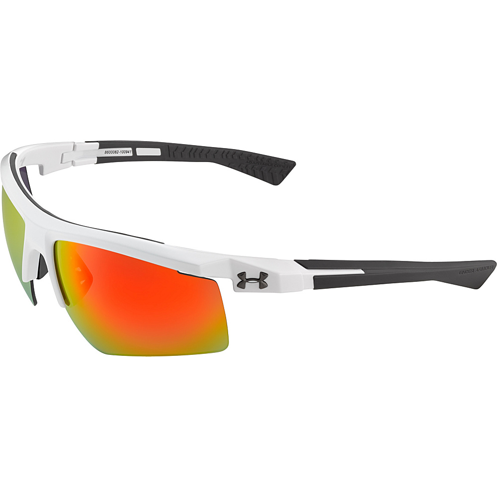 Under Armour Eyewear Core 2.0 Sunglasses Shiny White Gray Temples Gray Orange Multiflection Under Armour Eyewear Sunglasses