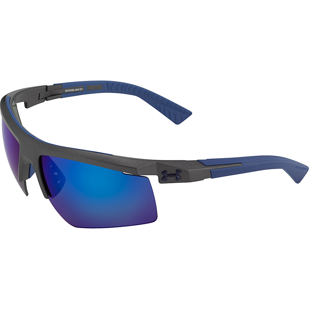 Under Armour Eyewear Core 2.0 Sunglasses Satin Carbon Gray Blue Multiflection Under Armour Eyewear Sunglasses