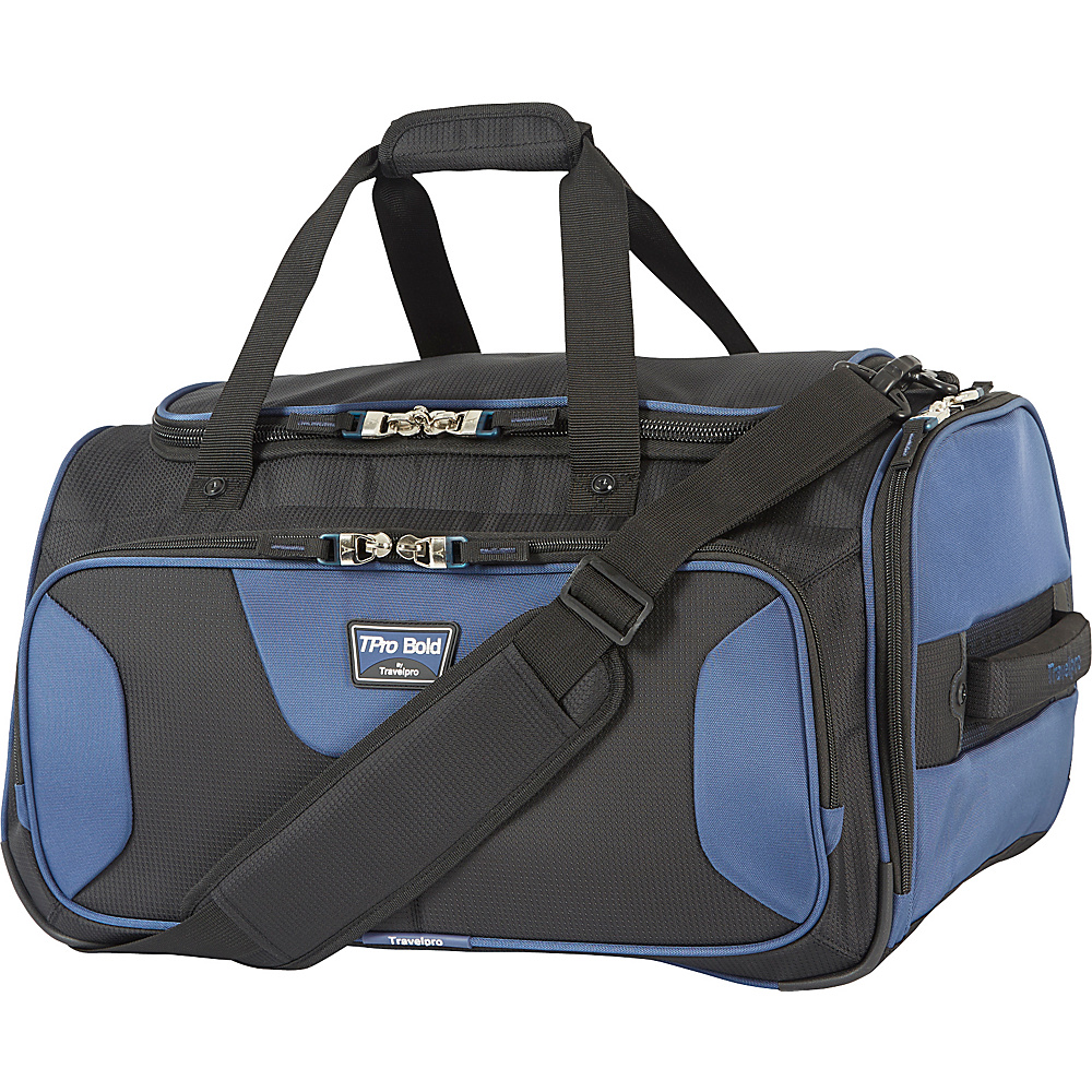 Travelpro T Pro Bold 2.0 Soft Duffle Black amp; Blue Travelpro Rolling Duffels