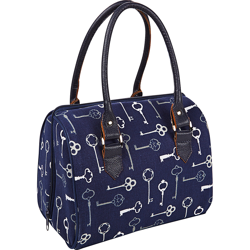 Fit & Fresh Jackson Insulated Lunch Bag Kit with Reusable Containers Navy Keys - Fit & Fresh Travel Coolers