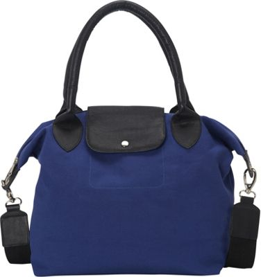 Sharo Leather Bags Royal Blue and Black Canvas Leather Large Tote Handbag Royal Blue/Black Two Tone - Sharo Leather Bags Fabric Handbags