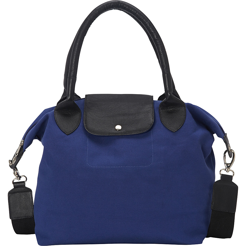 Sharo Leather Bags Royal Blue and Black Canvas Leather Large Tote Handbag Royal Blue Black Two Tone Sharo Leather Bags Fabric Handbags