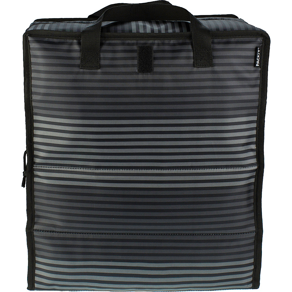 PackIt Grocery Bag Grey Stripe - PackIt Travel Coolers