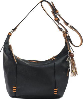 Jessica Simpson Sofia Bucket Crossbody Black/Safari/Camel - Jessica Simpson Manmade Handbags