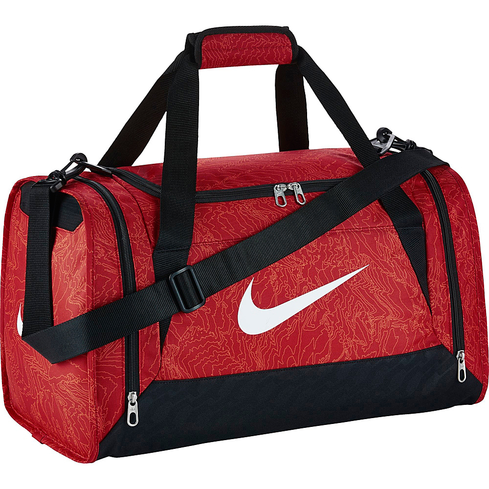 Nike Brasilia 6 Duffel Graphic Small University Red Black White Nike Gym Duffels