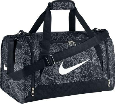 Nike Brasilia 6 Duffel Graphic Small Black/Black/White - Nike All Purpose Duffels