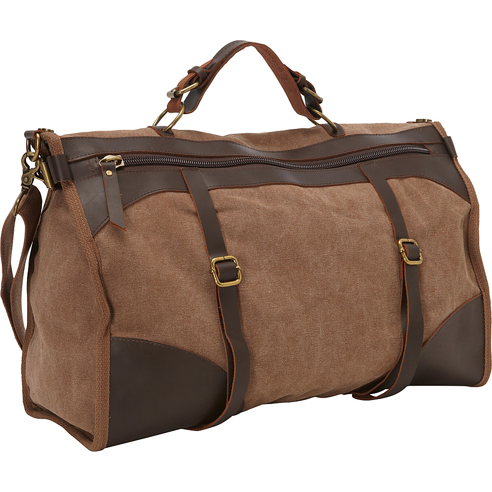 Laurex Canvas Weekend Duffle w Leather Accent Brown Laurex Messenger Bags