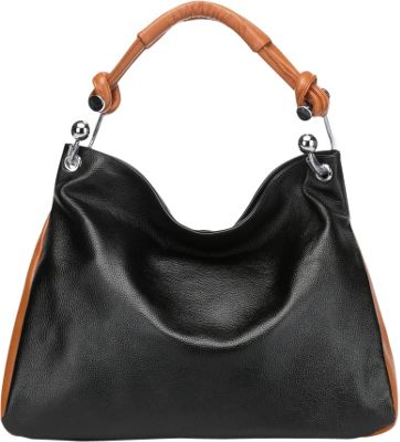 Vicenzo Leather Melissa Leather Shoulder Handbag Black/Brown - Vicenzo Leather Leather Handbags
