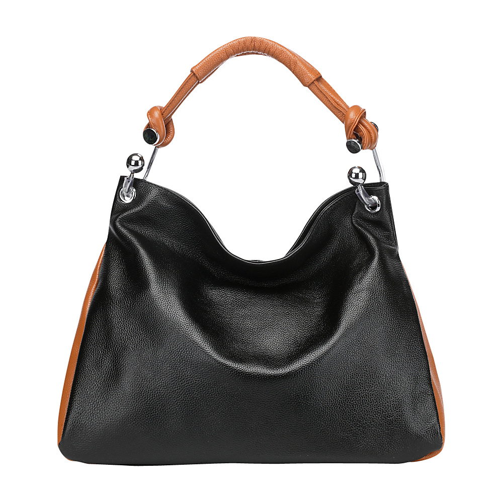 Vicenzo Leather Melissa Leather Shoulder Handbag Black Brown Vicenzo Leather Leather Handbags