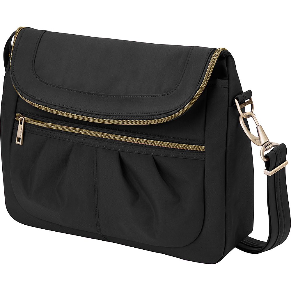 Travelon Anti-Theft Signature Flap Compartment Crossbody Bag Black/Teal - Travelon Fabric Handbags