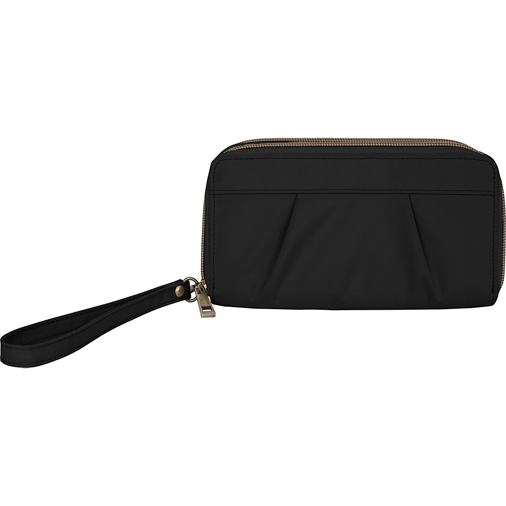 Travelon RFID Pleated Double Zip Clutch Black - Travelon Womens Wallets - Women's SLG, Women's Wallets