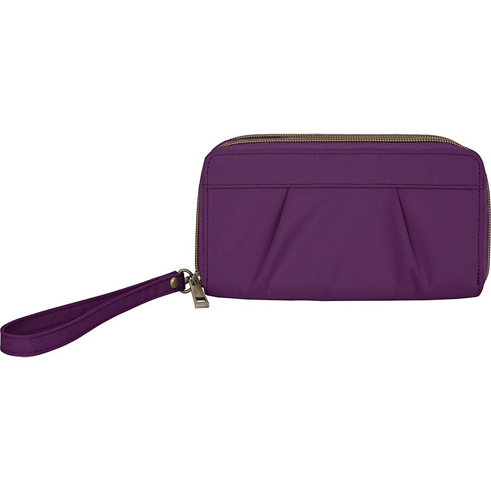 Travelon RFID Pleated Double Zip Clutch Dark Bordeaux/Sand - Travelon Womens Wallets - Women's SLG, Women's Wallets