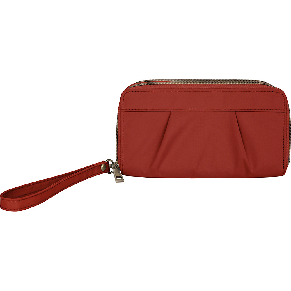Travelon RFID Pleated Double Zip Clutch Cayenne - Travelon Womens Wallets - Women's SLG, Women's Wallets