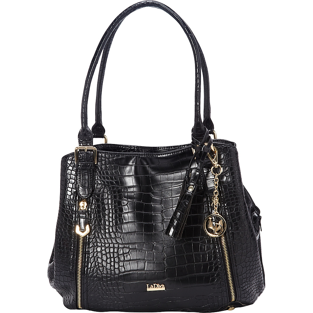 La Diva Multi-compartment Shoulder Bag Black Croco - La Diva Manmade Handbags