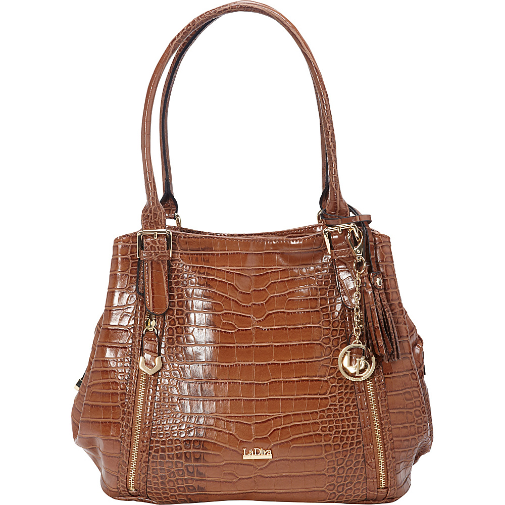 La Diva Multi-compartment Shoulder Bag Cognac Croco - La Diva Manmade Handbags