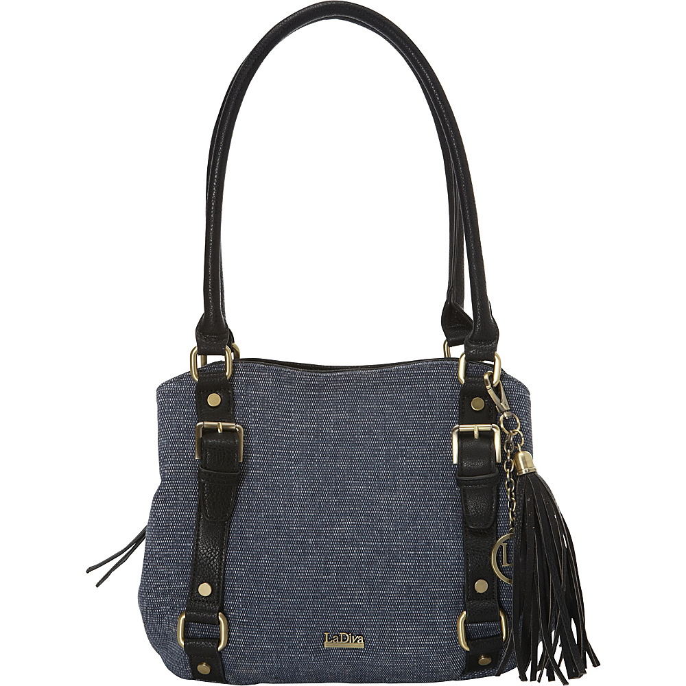 La Diva Multi-compartment Shoulder Bag Denim/Black - La Diva Manmade Handbags