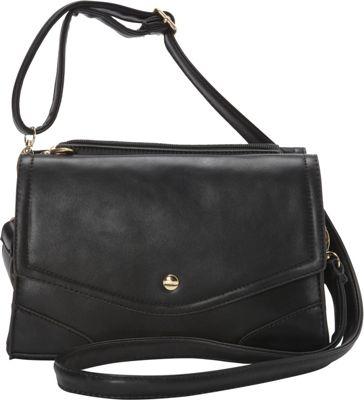 Ashley M Fashion Double Flap Leather Convertible Shoulder Bag Black - Ashley M Manmade Handbags