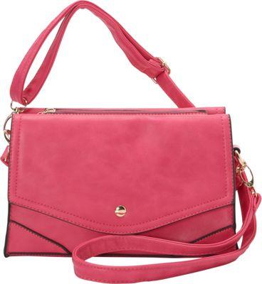 Ashley M Fashion Double Flap Leather Convertible Shoulder Bag Fuchsia - Ashley M Manmade Handbags