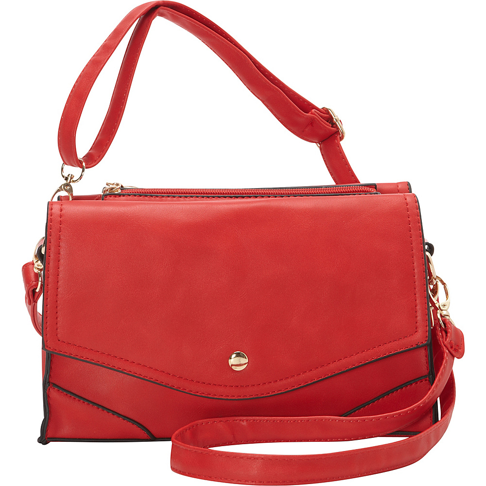 Ashley M Fashion Double Flap Leather Convertible Shoulder Bag Red - Ashley M Manmade Handbags