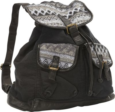 T-shirt & Jeans Back Pack W/ Sweater Trim Black - T-shirt & Jeans Everyday Backpacks