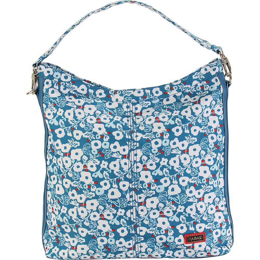 Hadaki Skinny Hobos Berry Blossom Teal - Hadaki Fabric Handbags - Handbags, Fabric Handbags