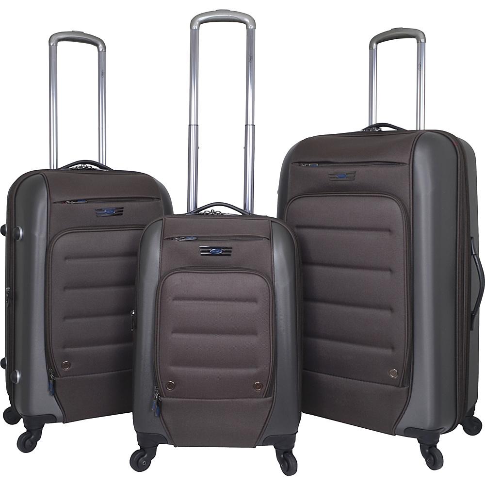 Travelers Club Luggage Ford Flex 3PC Exp. Hybrid Luggage Set Brown - Travelers Club Luggage Luggage Sets
