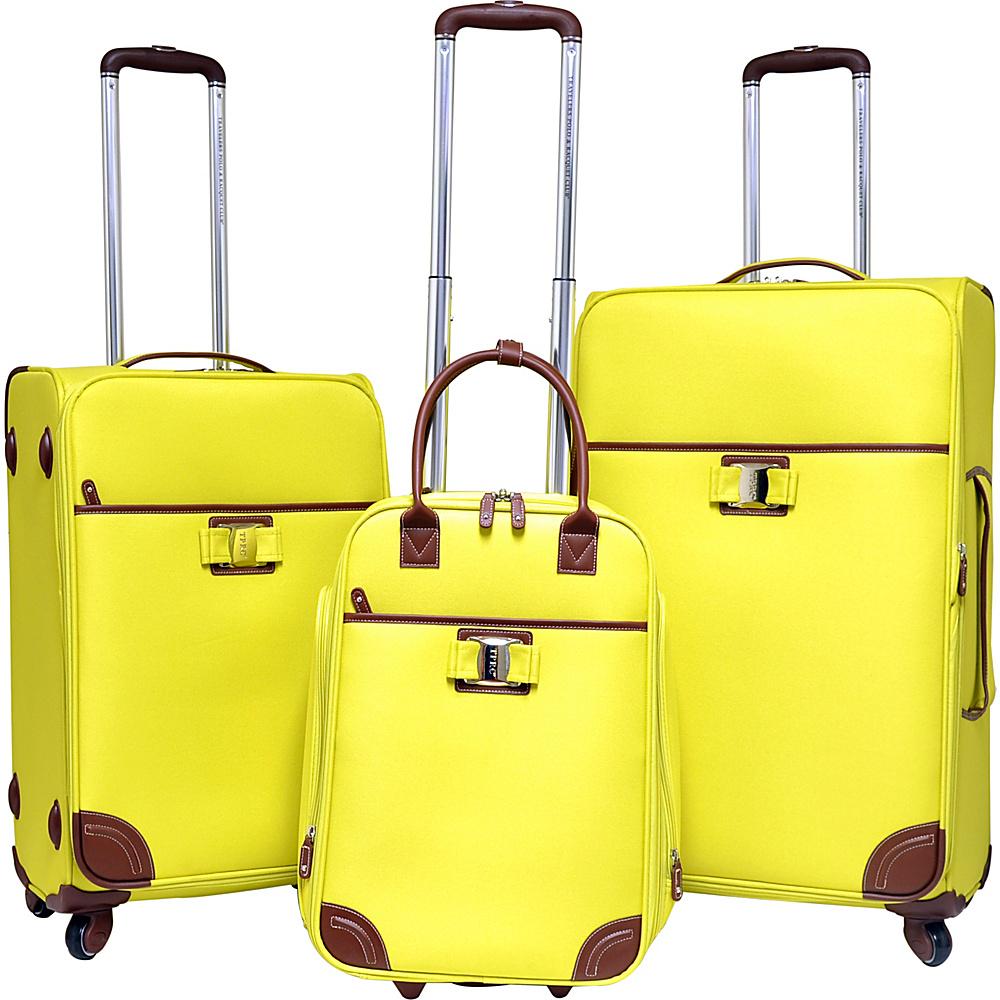 Travelers Club Luggage Paradise 3PC Softside Luggage Set Yellow - Travelers Club Luggage Luggage Sets