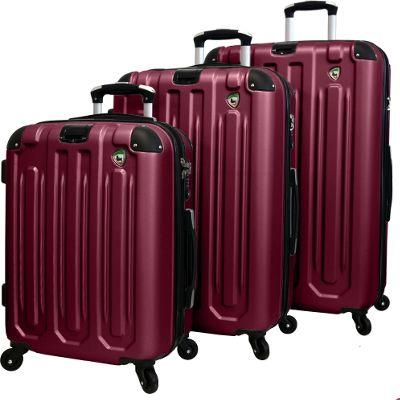 Mia Toro ITALY Regale Composite Hardside Spinner 3PC Set Burgundy - Mia Toro ITALY Luggage Sets