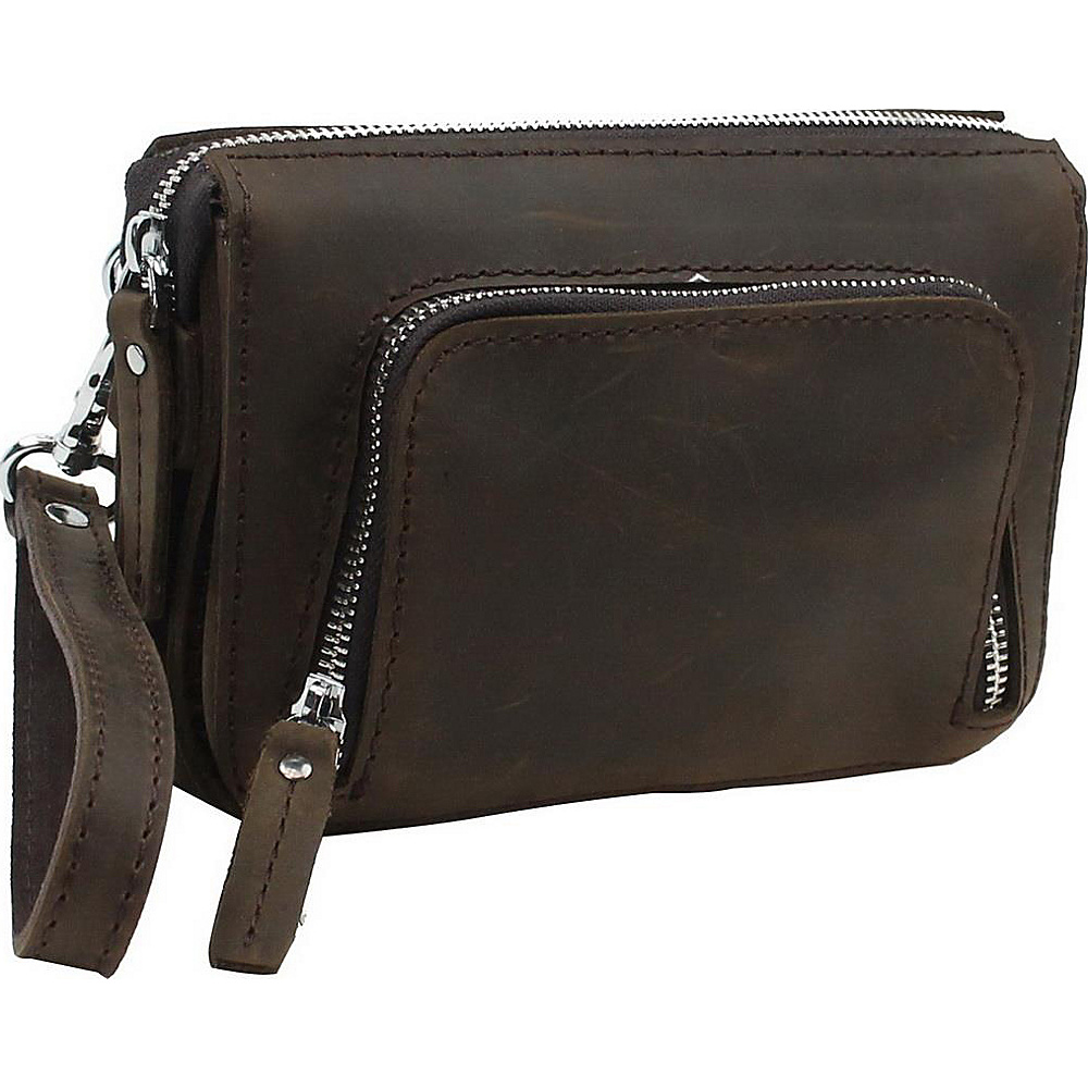 Vagabond Traveler 8 Leather Wristlet Dark Brown - Vagabond Traveler Leather Handbags - Handbags, Leather Handbags