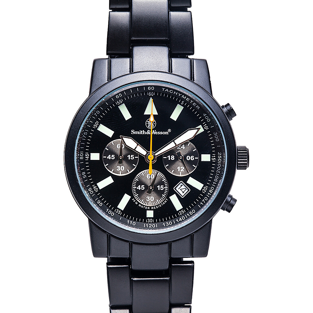 Smith & Wesson Watches Pilot Watch with Stainless Steel Strap Black - Smith & Wesson Watches Watches