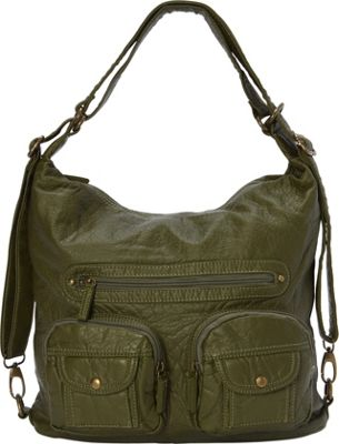 Image of Ampere Creations Convertible Backpack Crossbody Purse Army Green - Ampere Creations Manmade Handbags