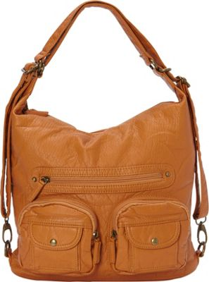 Image of Ampere Creations Convertible Backpack Crossbody Purse Camel - Ampere Creations Manmade Handbags