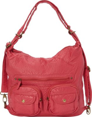 Ampere Creations Ampere Creations Convertible Backpack Crossbody Purse Coral - Ampere Creations Manmade Handbags