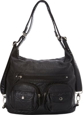Image of Ampere Creations Convertible Backpack Crossbody Purse Black - Ampere Creations Manmade Handbags