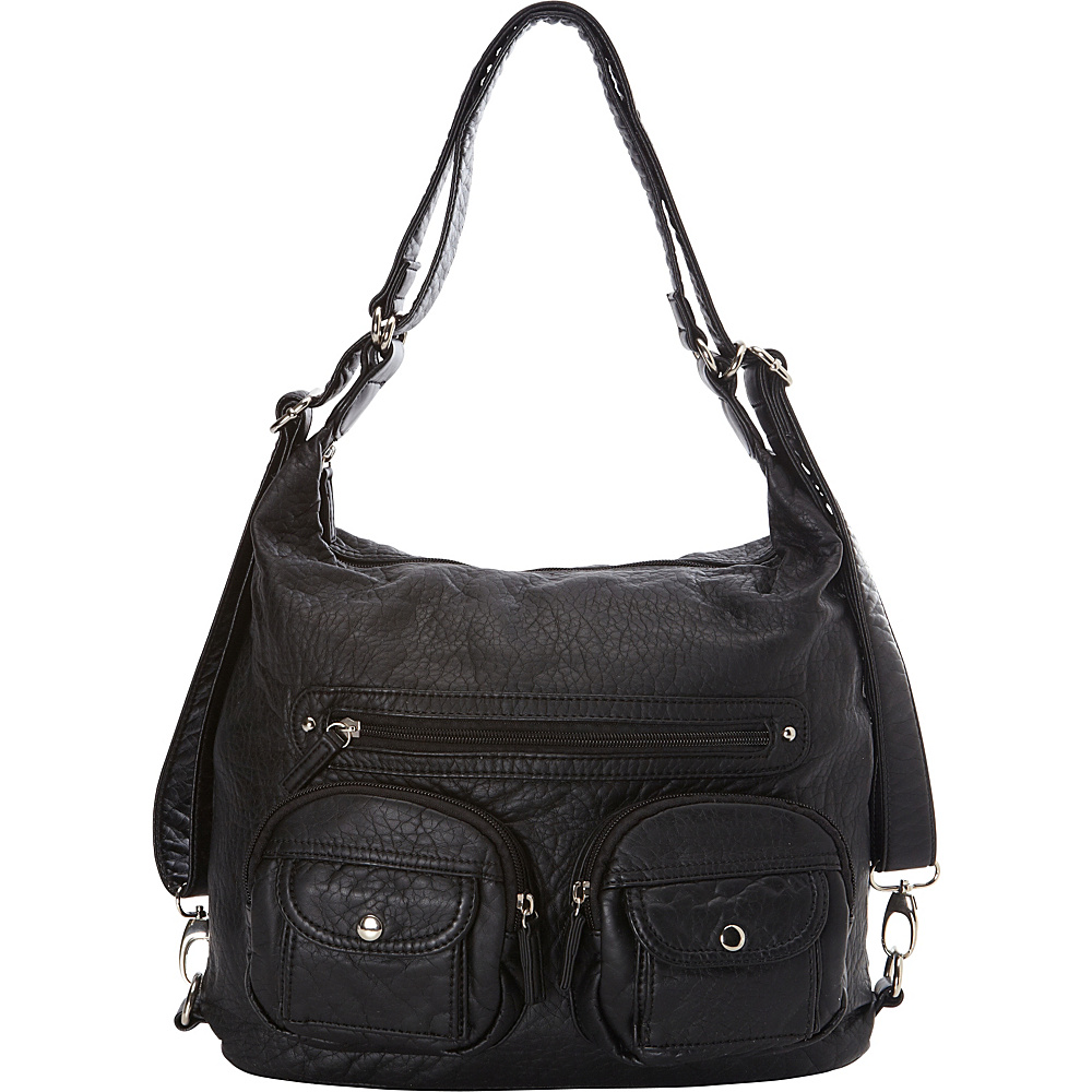 Ampere Creations Convertible Backpack Crossbody Purse Black - Ampere Creations Manmade Handbags