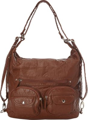 Image of Ampere Creations Convertible Backpack Crossbody Purse Brown - Ampere Creations Manmade Handbags