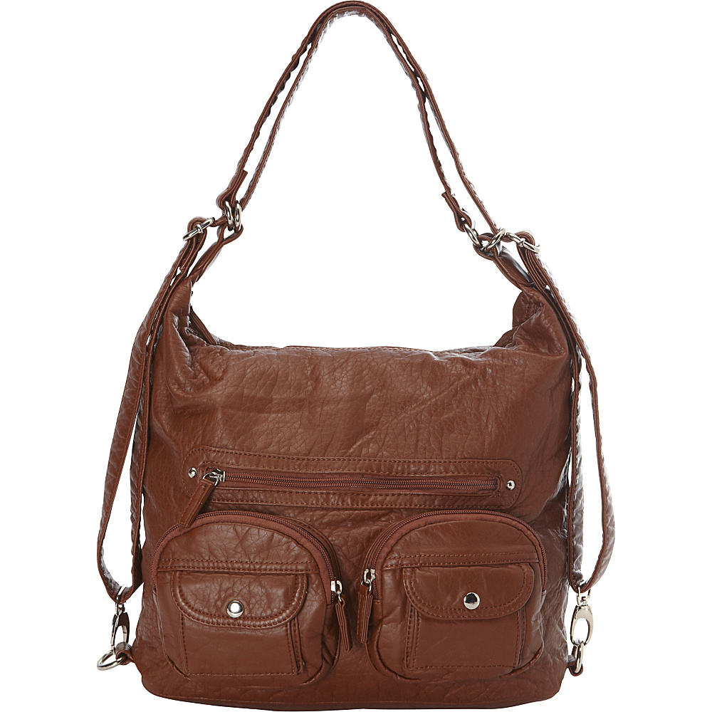 Ampere Creations Convertible Backpack Crossbody Purse Brown - Ampere Creations Manmade Handbags