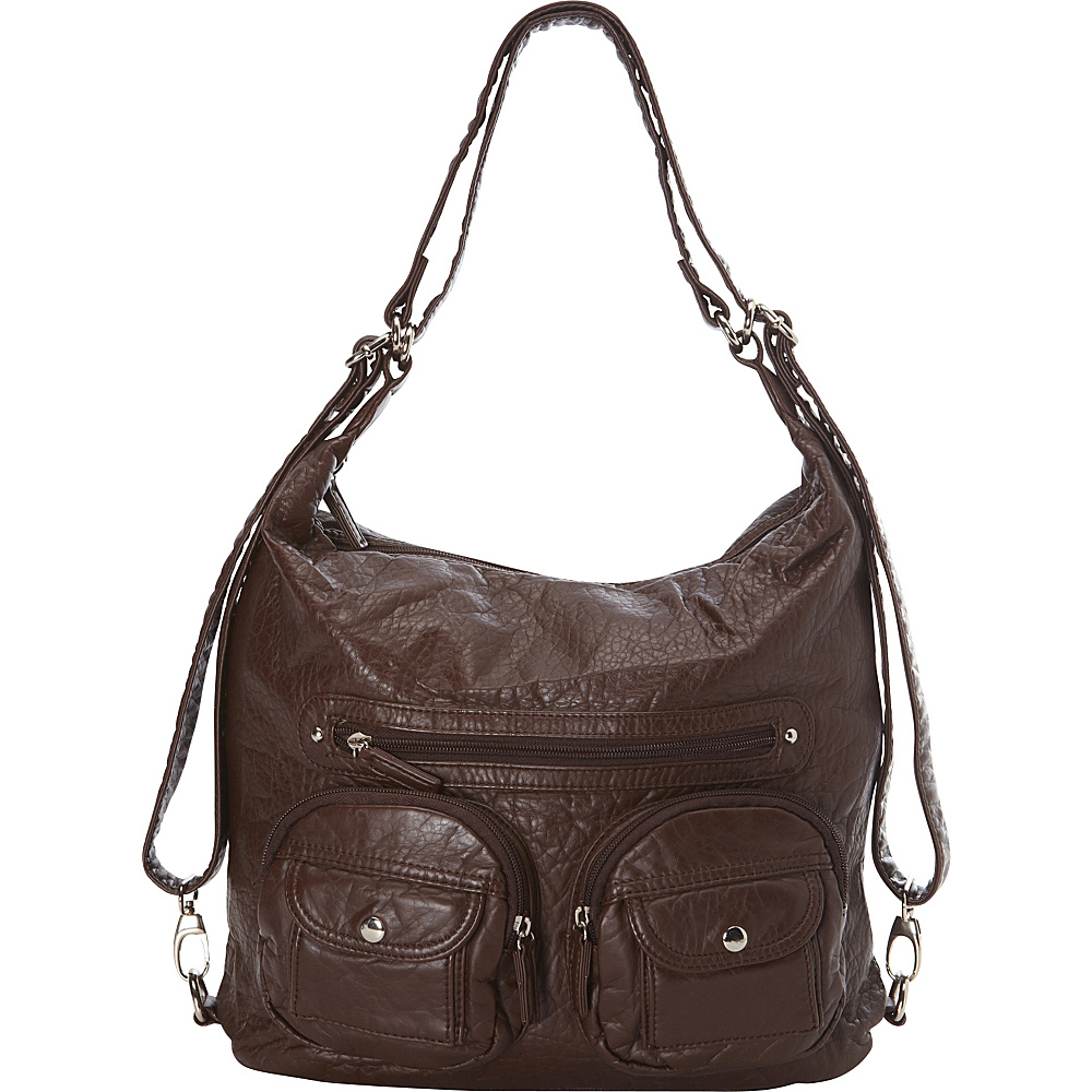 Ampere Creations Convertible Backpack Crossbody Purse Chocolate Brown - Ampere Creations Manmade Handbags