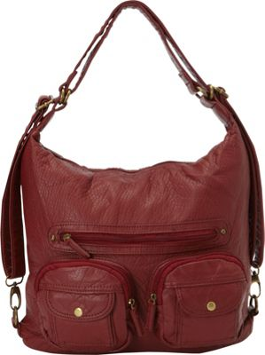 Image of Ampere Creations Convertible Backpack Crossbody Purse Burgundy - Ampere Creations Manmade Handbags